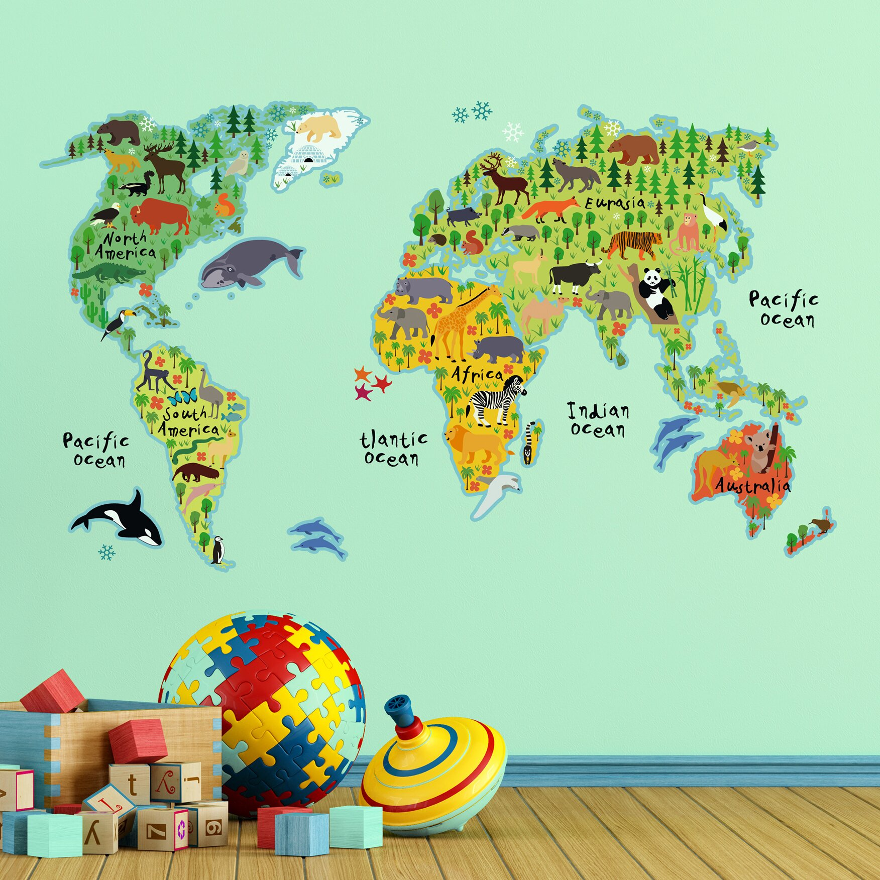 Wallpops Home Decor Line Kids World Map Wall Decal