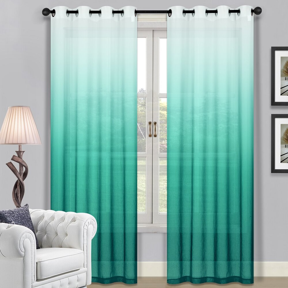 Blue grommet curtain panels