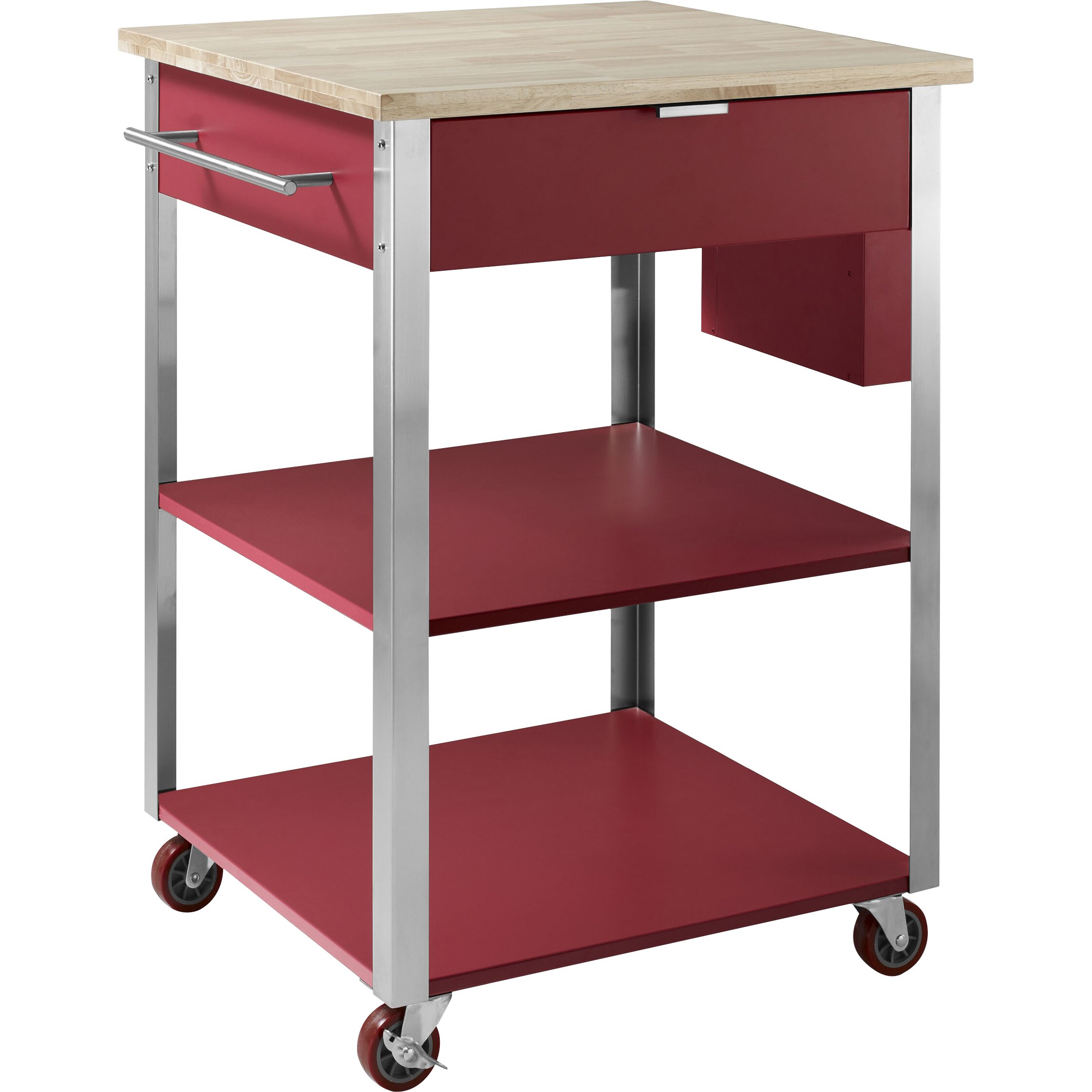 Crosley-Butcher-Block-Top-Kitchen-Island-In-White-Finish-With-24--Black-School-House-Stools-02 Crosley Butcher Block Top Kitchen Island