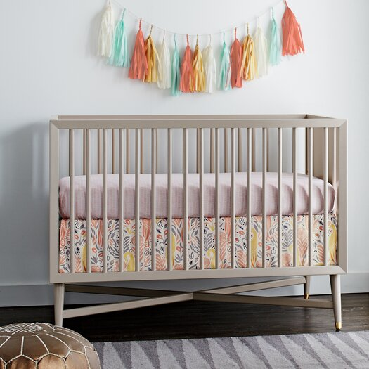 Dwellstudio Mid Century Convertible Crib In French Grey