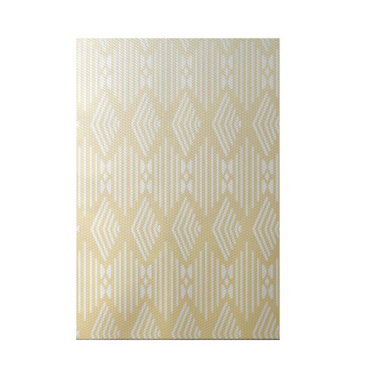 E by design fishbones geometric print soft lemon indoor for Geometric print area rugs