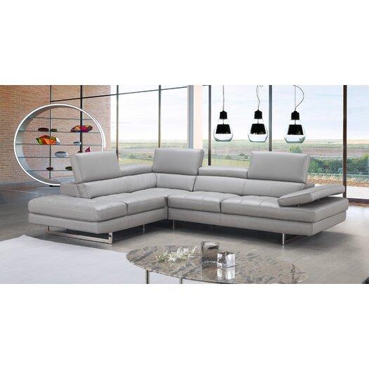 J M Furniture Aurora Premium Leather Sectional Reviews Allmodern