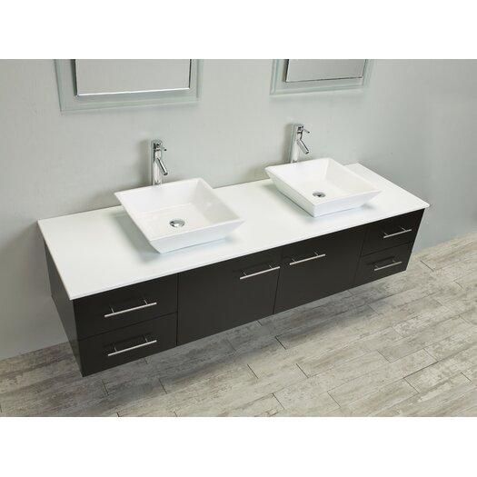Eviva totti wave 72 double sink espresso modern bathroom for All modern bathroom vanity