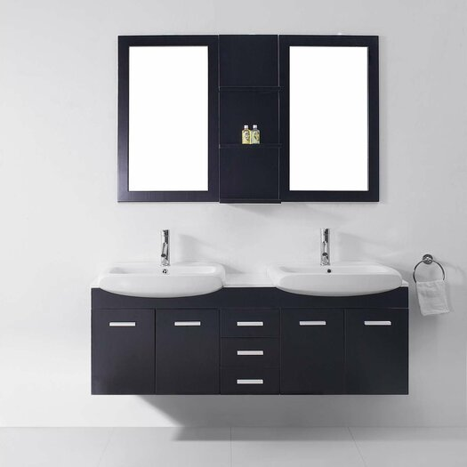 Virtu Ultra Modern Series 59 Double Bathroom Vanity Set With White Top And Mirror Reviews