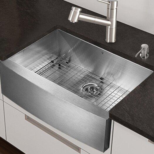 "Vigo Camden Farmhouse Single Bowl Kitchen Sink: Vigo 30"" Farmhouse Apron Single Bowl 16 Gauge Stainless"