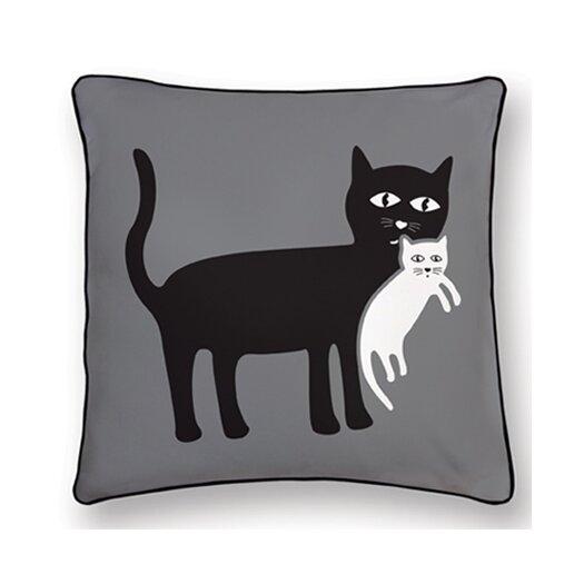 Reversible Animal Pillow : Naked Decor Animal Instinct Cat and Kitten Reversible Cotton Throw Pillow & Reviews AllModern