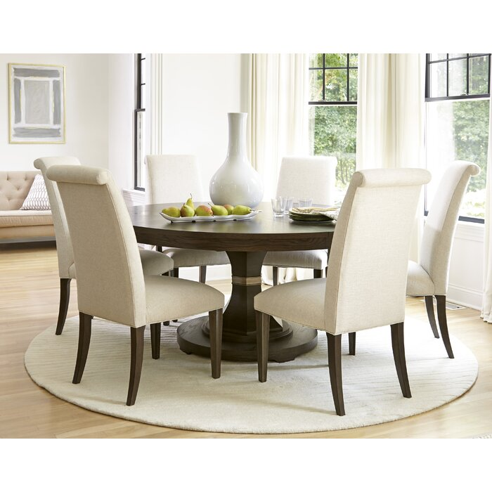 Universal furniture california 7 piece dining set for Small white dining room sets