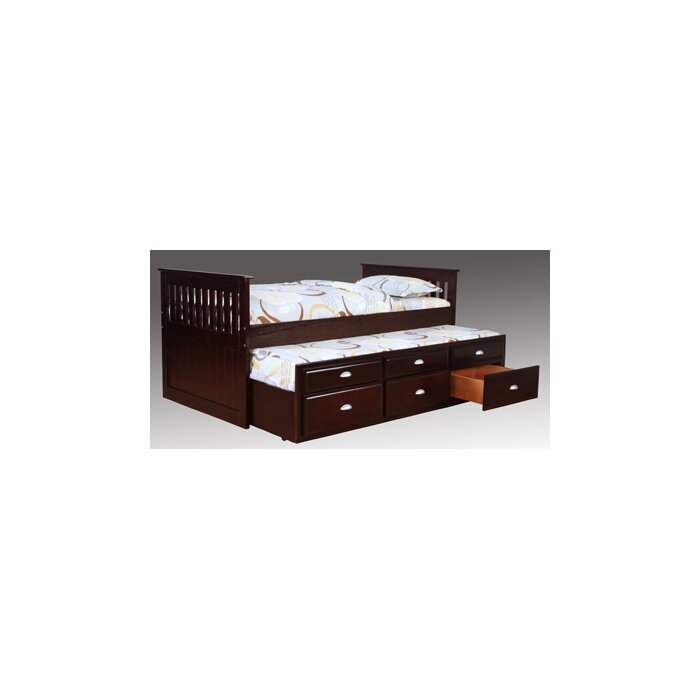 Bernards Twin Captain Bed with Trundle and Storage