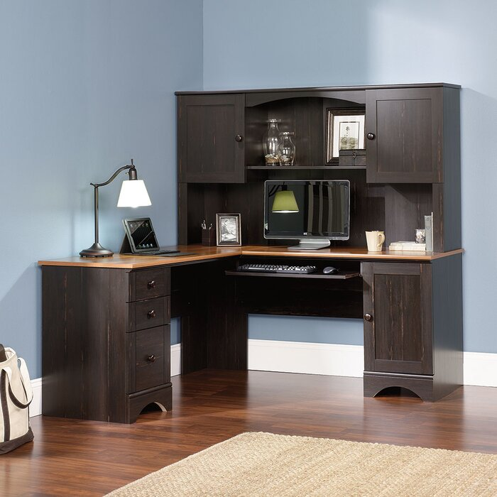 Beachcrest Home Executive Desk with Hutch