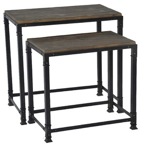 2-Piece Belinda Reclaimed Wood Nesting Table Set
