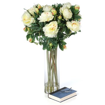 Nearly Natural Giant Peony Silk Flower Arrangement In