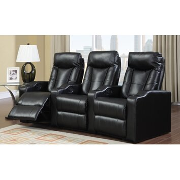 leather furniture wildon home 174 camden home theater seating row of 3 16633 | custom image