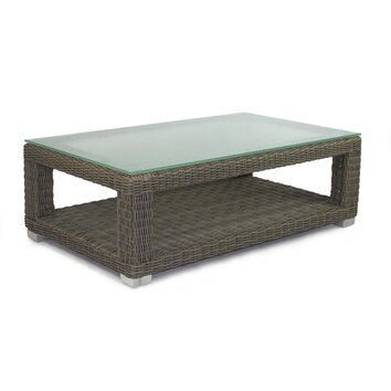 Patio heaven palisades coffee table with tempered glass for Wayfair outdoor coffee table