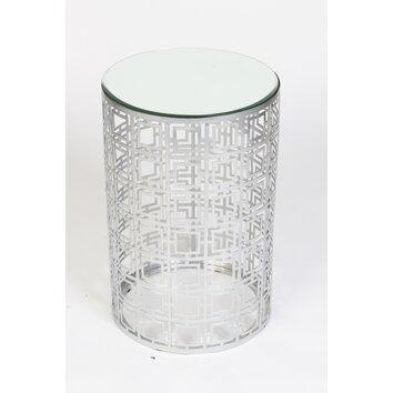 prima geometric drum end table reviews wayfair. Black Bedroom Furniture Sets. Home Design Ideas