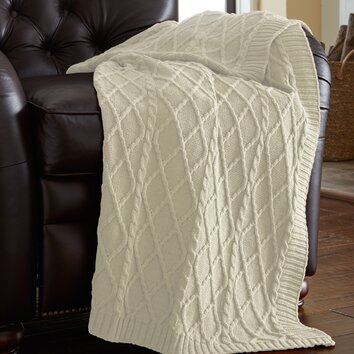 Alcott Hill Greenburgh Cable Diamond Knit Throw Amp Reviews