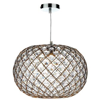 Dar Lighting 38cm Juanita Glass Oval Pendant Shade