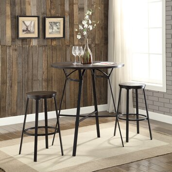 acme furniture dora 3 piece pub table set wayfair