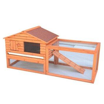 Aosom pawhut outdoor guinea rabbit hutch habitat pig pet for Aosom llc outsunny chaise lounge