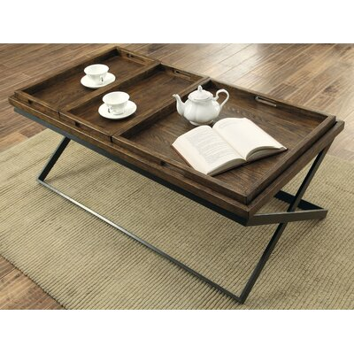 Laurel Foundry Modern Farmhouse Evansville Coffee Table with Tray Top