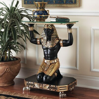 Design Toscano Servant to the Pharaoh Glass Topped Console Table