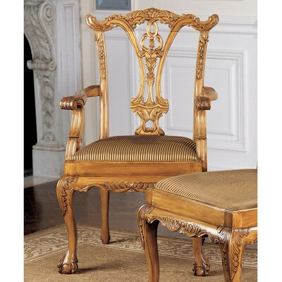 Design Toscano English Chippendale Fabric Arm Chair