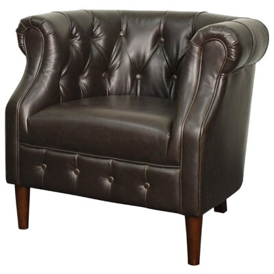 New Pacific Direct Luna Bonded Leather Tufted Barrel Chair
