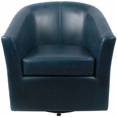 New Pacific Direct Ernest Bonded Leather Swivel Barrel Chair