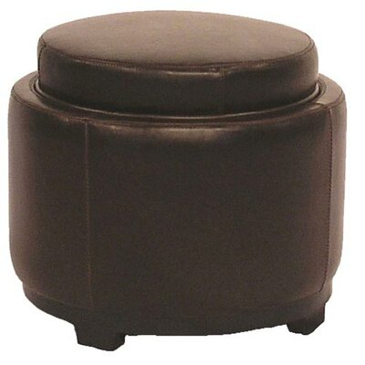 New Pacific Direct Cameron Leather Round Storage Ottoman