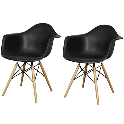 New Pacific Direct Carl Arm Chair with Wooden Legs (Set of 2)