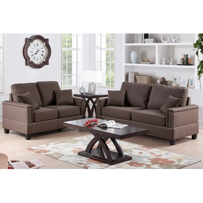 Poundex Bobkona Norris 2 Piece Sofa and Loveseat Set