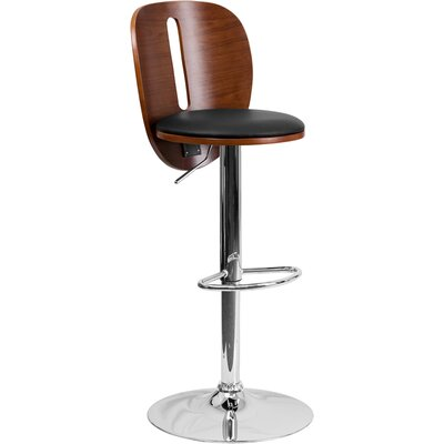 Flash Furniture Walnut Bentwood Adjustable Height Swivel Bar Stool (Set of 2)