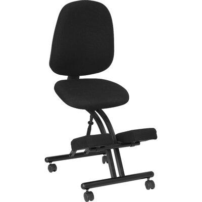 Flash Furniture Mobile Ergonomic Kneeling Chair in Black Fabric