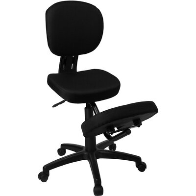 Flash Furniture Mobile Ergonomic Kneeling Chair in Black Fabric