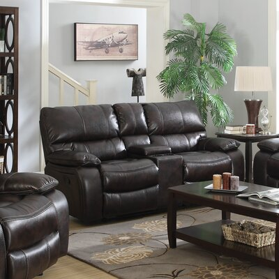 Wildon Home ® Willemse Motion Leather Reclining Loveseat