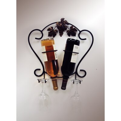 J & J Wire 2 Bottle Wall Mounted Wine Rack