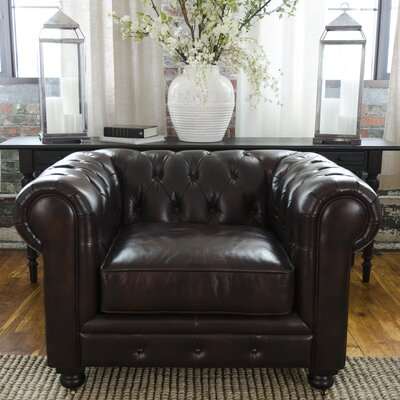 Darby Home Co Fiske Top Grain Leather Standard Arm Chair