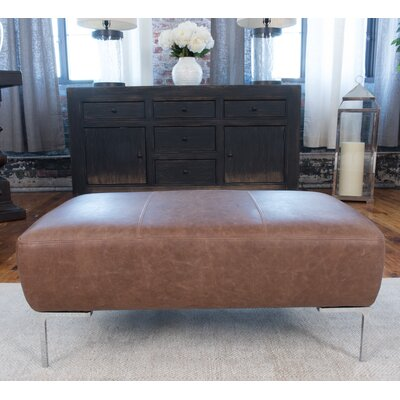 Elements Fine Home Furnishings Industrial Leather Ottoman