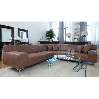 Elements Fine Home Furnishings Industrial Leather Modular Sectional