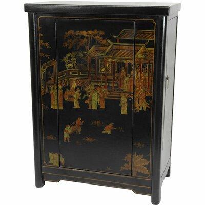 Oriental Furniture Bar Cabinet with Wine Storage