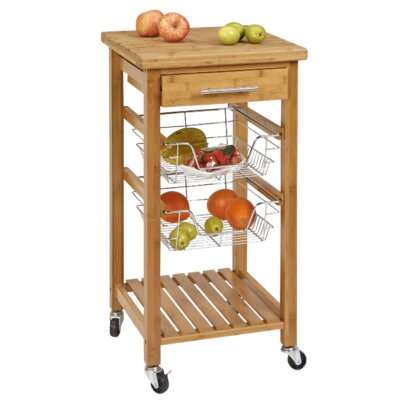 CORNER HOUSEWARES Bamboo Kitchen Cart with Storage