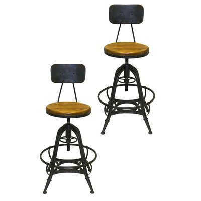 Pangea Home Bruce Adjustable Height Swivel Bar Stool (Set of 2)
