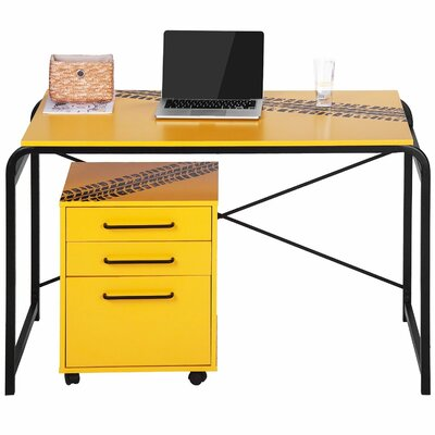 Merax 2 Piece Computer Desk with 3 Drawers Mobile File Cabinet Set