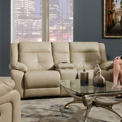 Simmons Upholstery Miracle Pearl Double Motion Console Loveseat