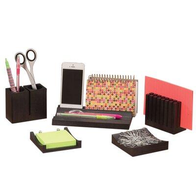 Safco products 5 piece wood desk organizer set reviews - Desk set organizer ...