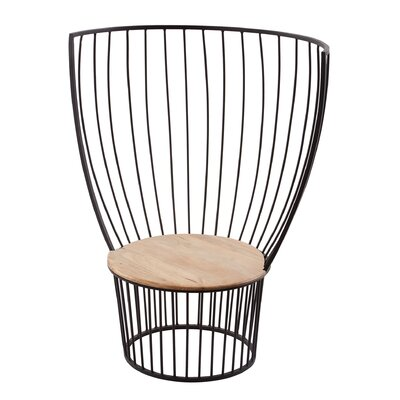 Laurel Foundry Modern Farmhouse Natalya Teak and Metal Carousel Chair