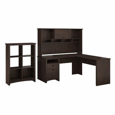 Darby Home Co Egger Executive Corner Desk with Hutch & 6 Slot Bookcase
