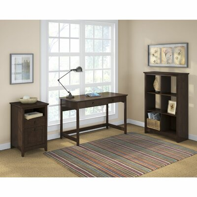 Darby Home Co Egger Computer Desk with 6 Cube Bookcase and 2 Drawer Pedestal