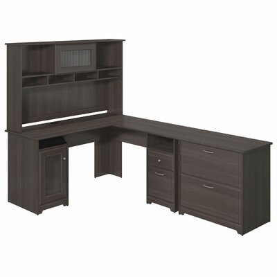 Red Barrel Studio Capital L-Shape Executive Desk with Hutch and Lateral File