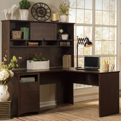 Darby Home Co Egger Corner L Desk with Hutch, Bookcase, and Lateral File