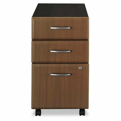 Bush Furniture 2 Box/1 File Drawer Mobile Vertical File, 15-5/8w x20-3/8d, Sienna Walnut/Bronze